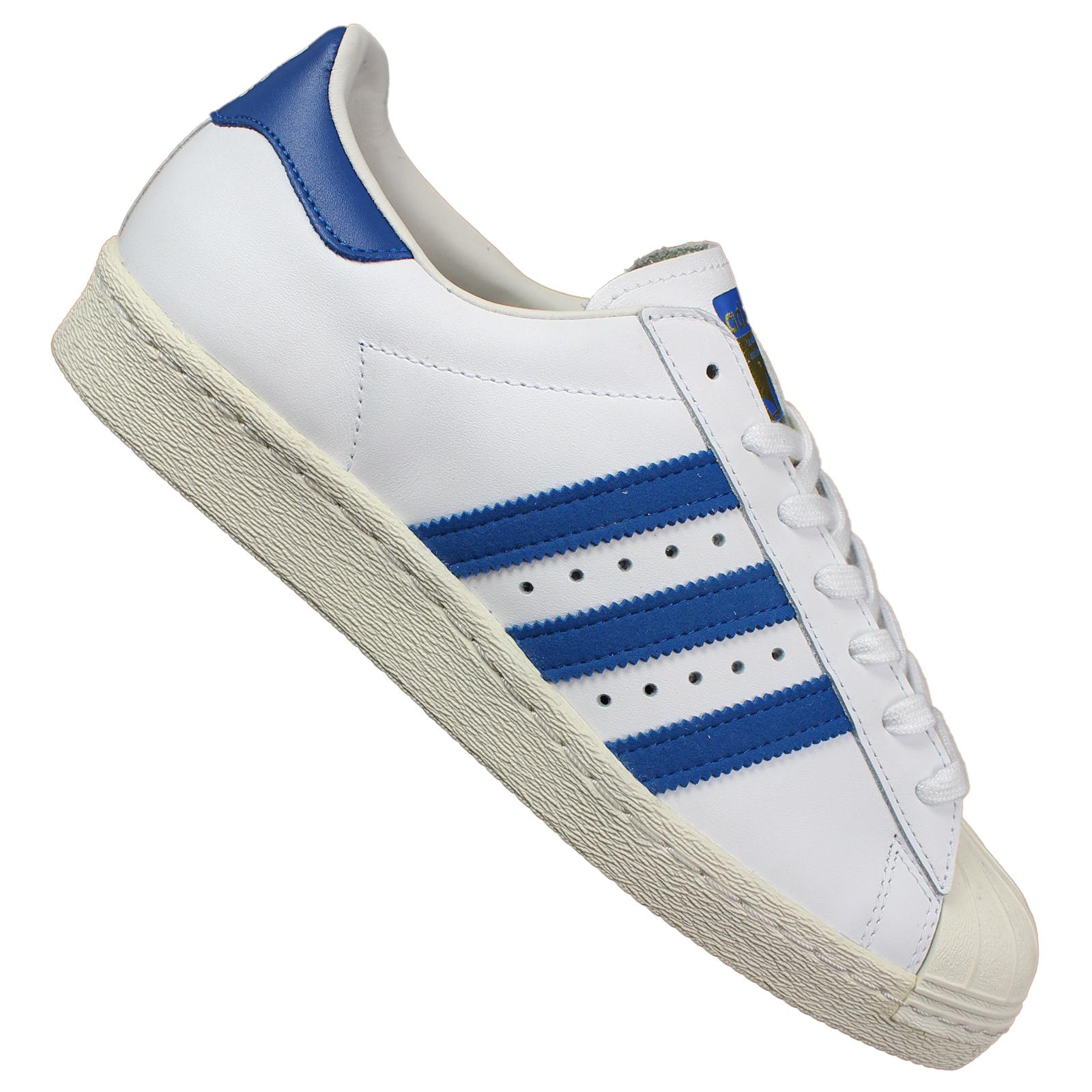 Blau Schuhe Weiss Turnschuhe 80s Herren Sneaker Adidas Originals Leder Superstar ZOuPkiX
