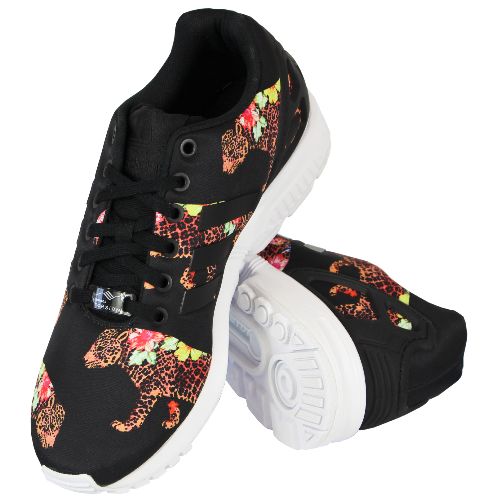 Details about Adidas Originals the Farm Oncada Zx Flux Women's Sneakers Leopard Blossoms Shoes