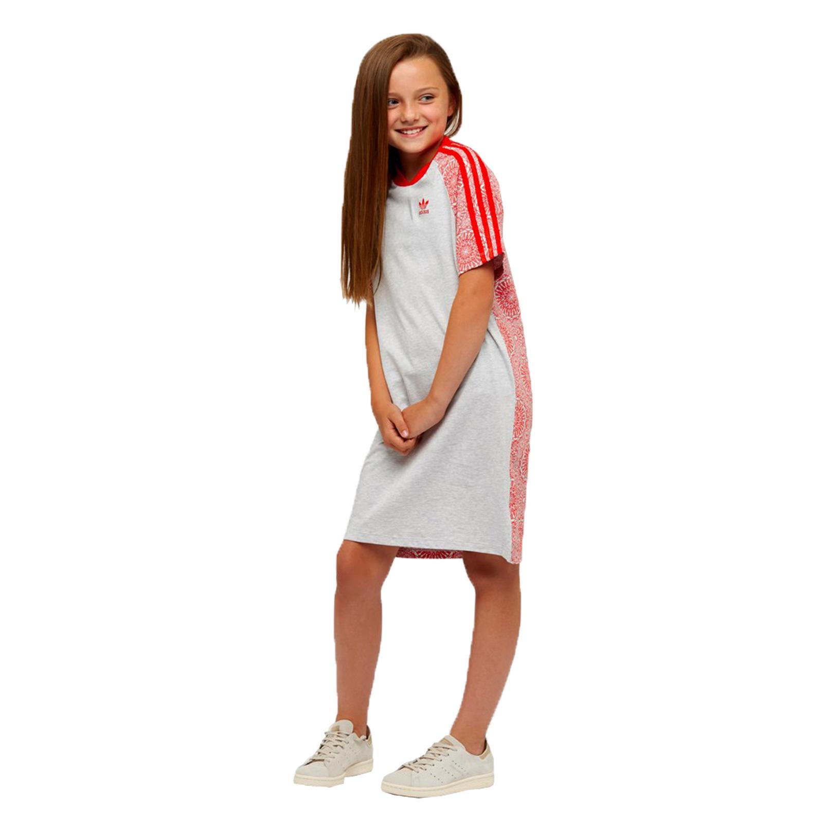 ein paar Tage entfernt geringster Preis geschickte Herstellung adidas Originals Mädchen Kinder Kleid Sommerkleid Spirograph Muster grau rot