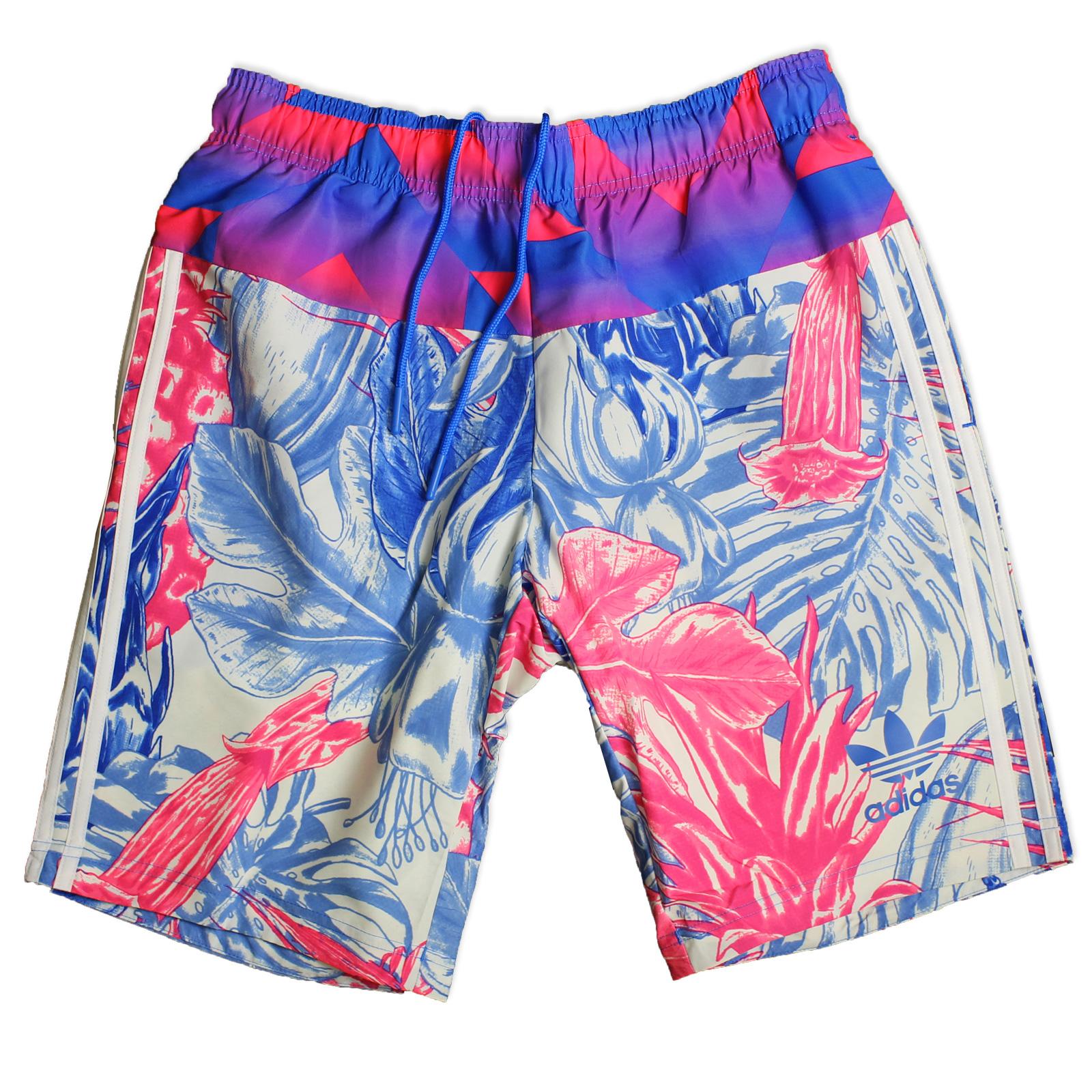 6b0e49e0d90927 adidas Originals Herren Badeshorts Badehose Flowerrush Shorts Weiß Blau Pink