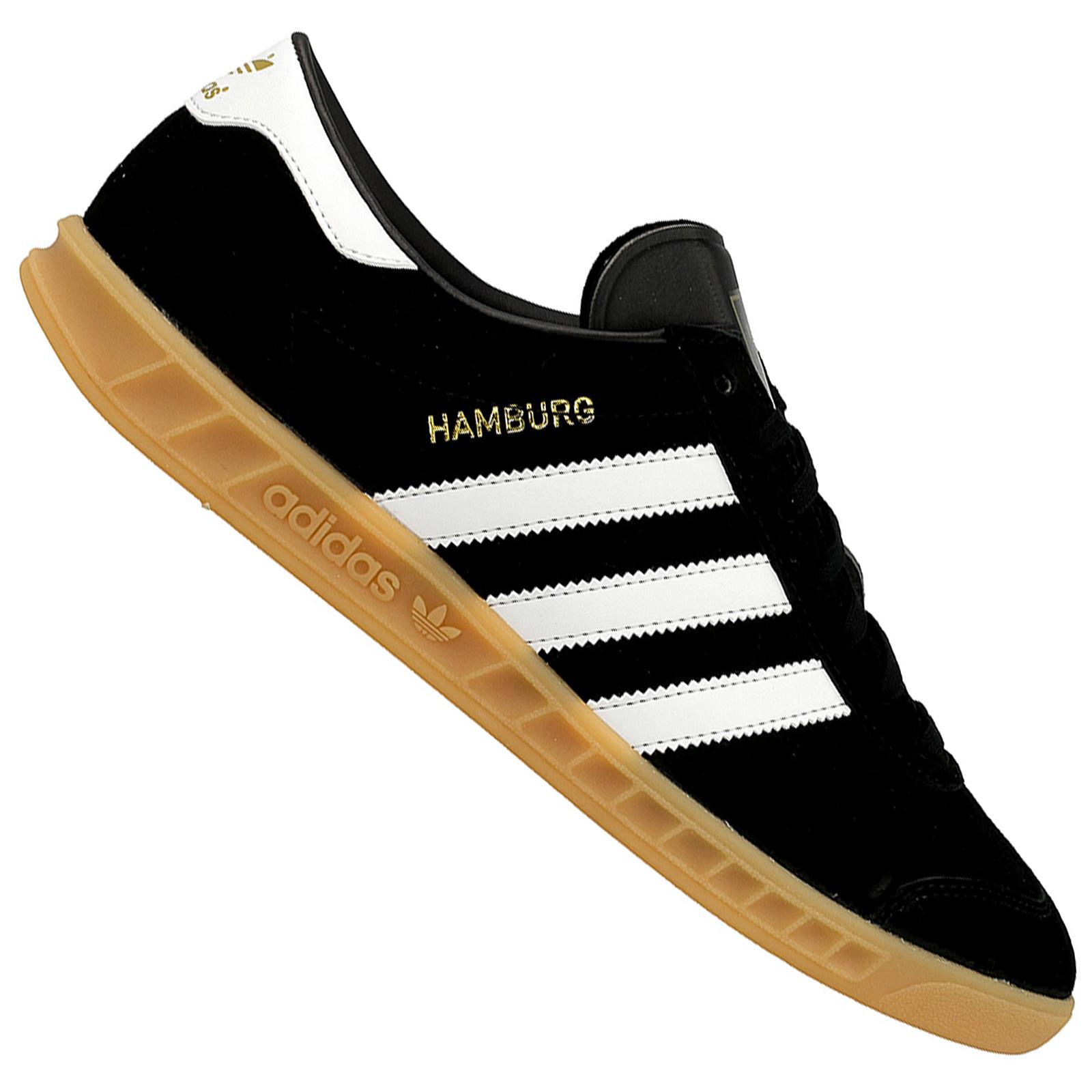 Details zu adidas Originals Hamburg Herren Damen Sneaker Leder Turnschuhe Schwarz Weiß