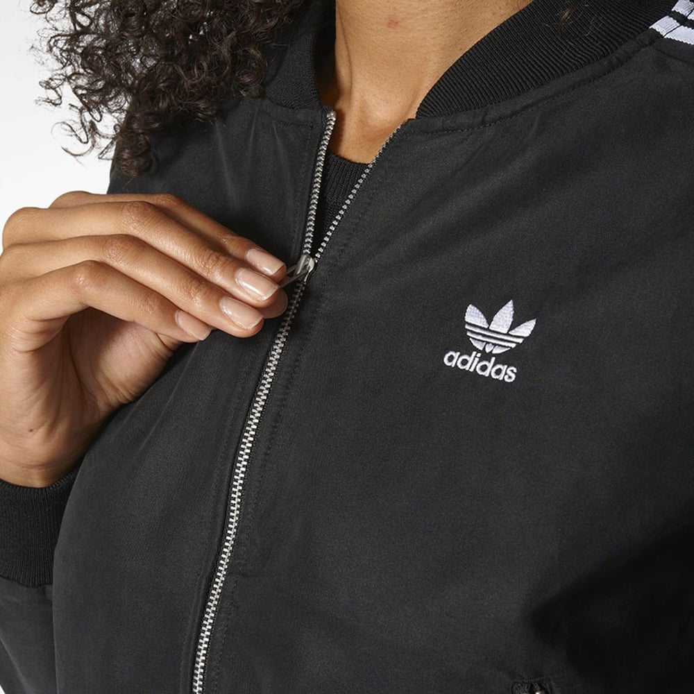 adidas Originals Damen SST Superstar Bomber Jacke Top Schwarz transp. Rücken
