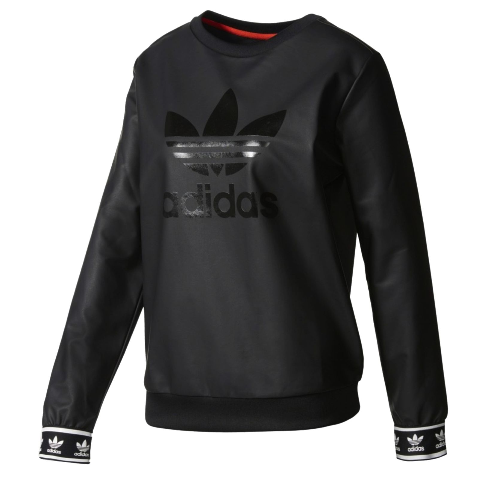 Details about Adidas Originals Crew Sweater Ladies Trefoil Logo Sweatshirt  Leather Look Black 029b2489df6