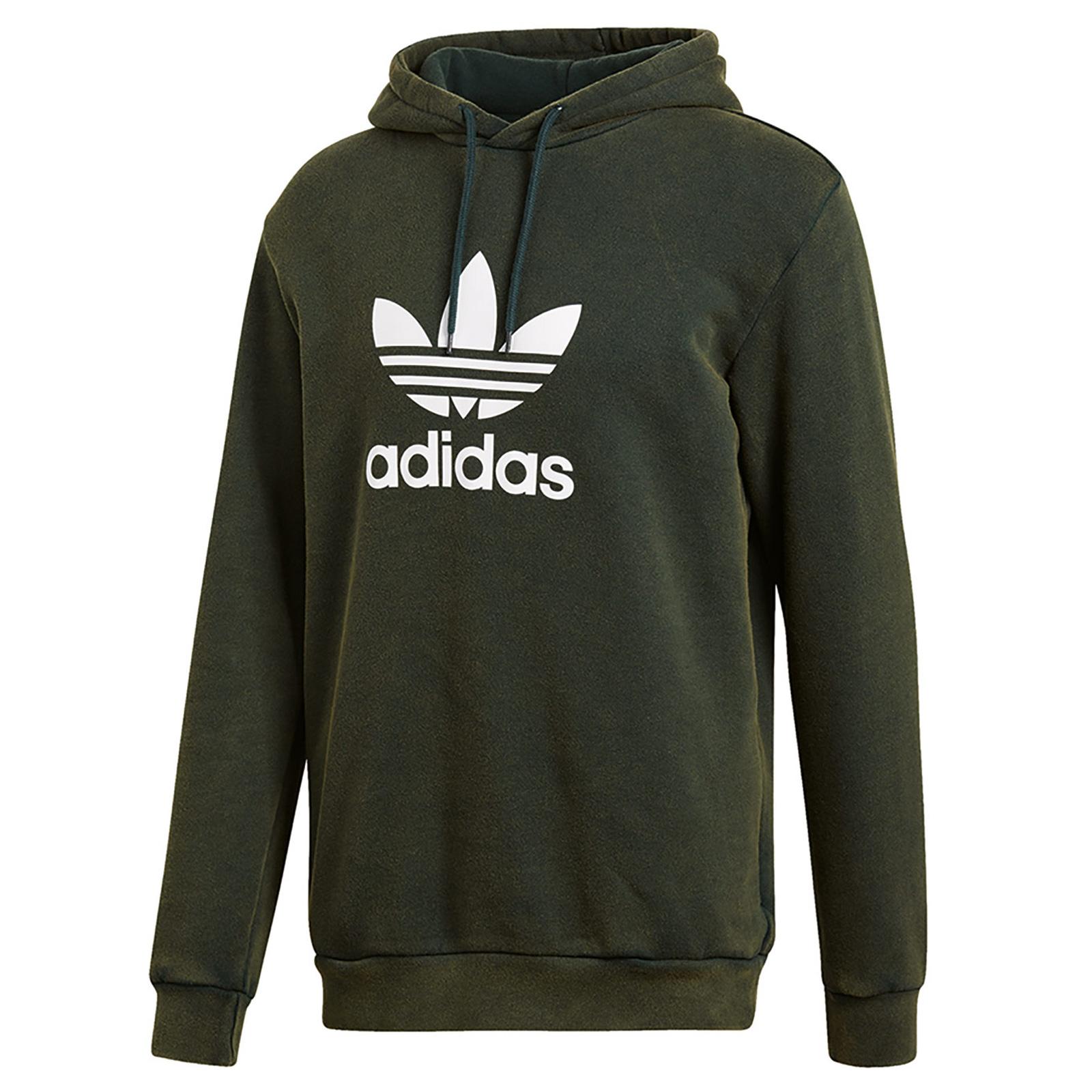Details about Adidas Originals Adi Trefoil Hooded Sweater Jumper Sweatshirt Hoody Dark Green