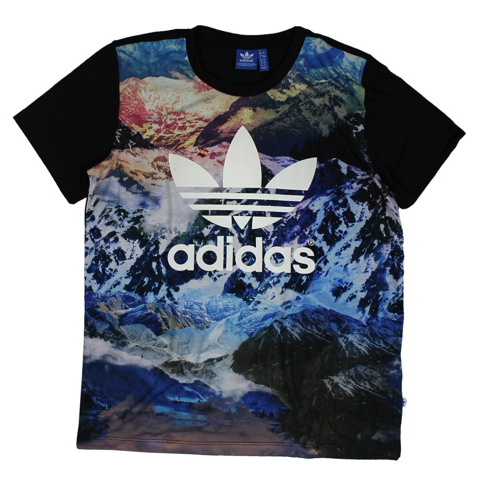 adidas Originals Mountain Trefoil Tee Boyfriend Oversize Shirt Berge Schwarz