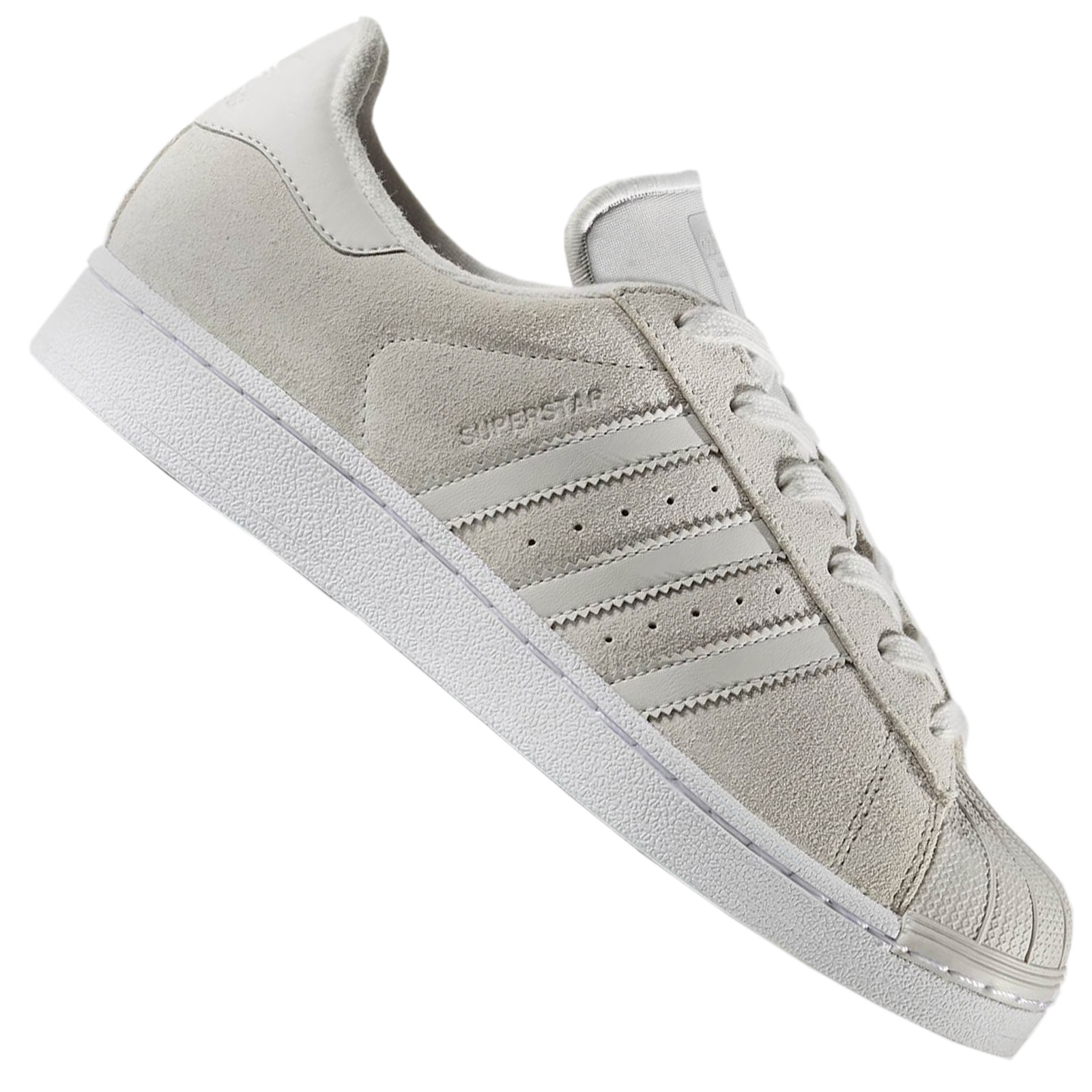 new product af39c 89732 adidas Originals Clean Superstar Turnschuhe Wildleder Leder Hellgrau Grau  CP9893