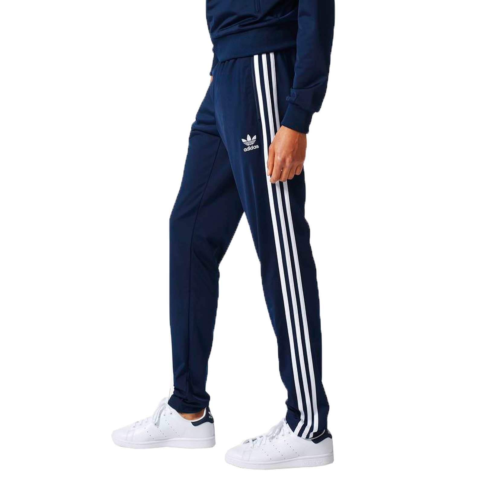 adidas Herren Open Hem Skinny Sporthose Superstar Trainings Hose enges Bein Navy