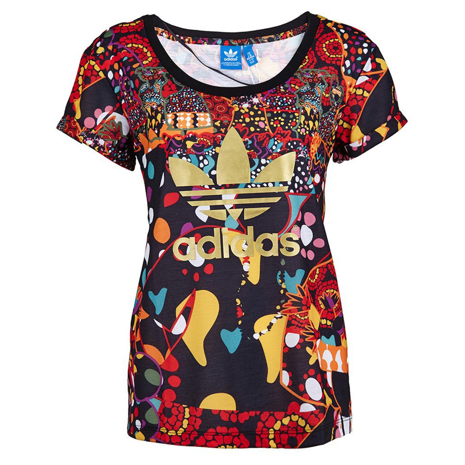 Details zu adidas Originals X The Farm Damen Trefoil Shirt Maracatu Tee AOP M30784