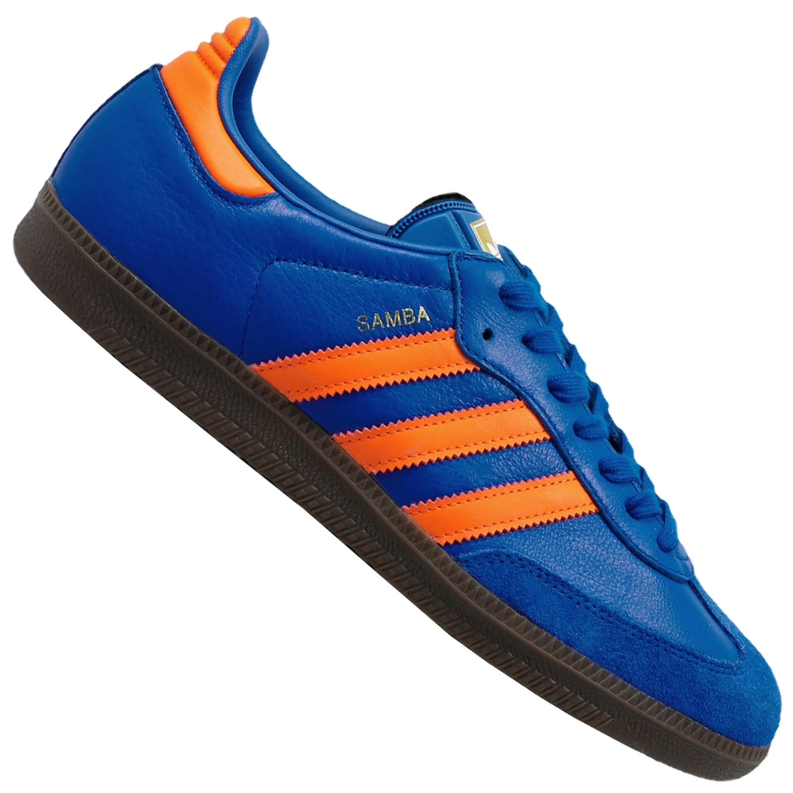 Details about Adidas Originals Samba Ladies Men's Sneakers CQ2150 Leather Sneakers Blue Orange