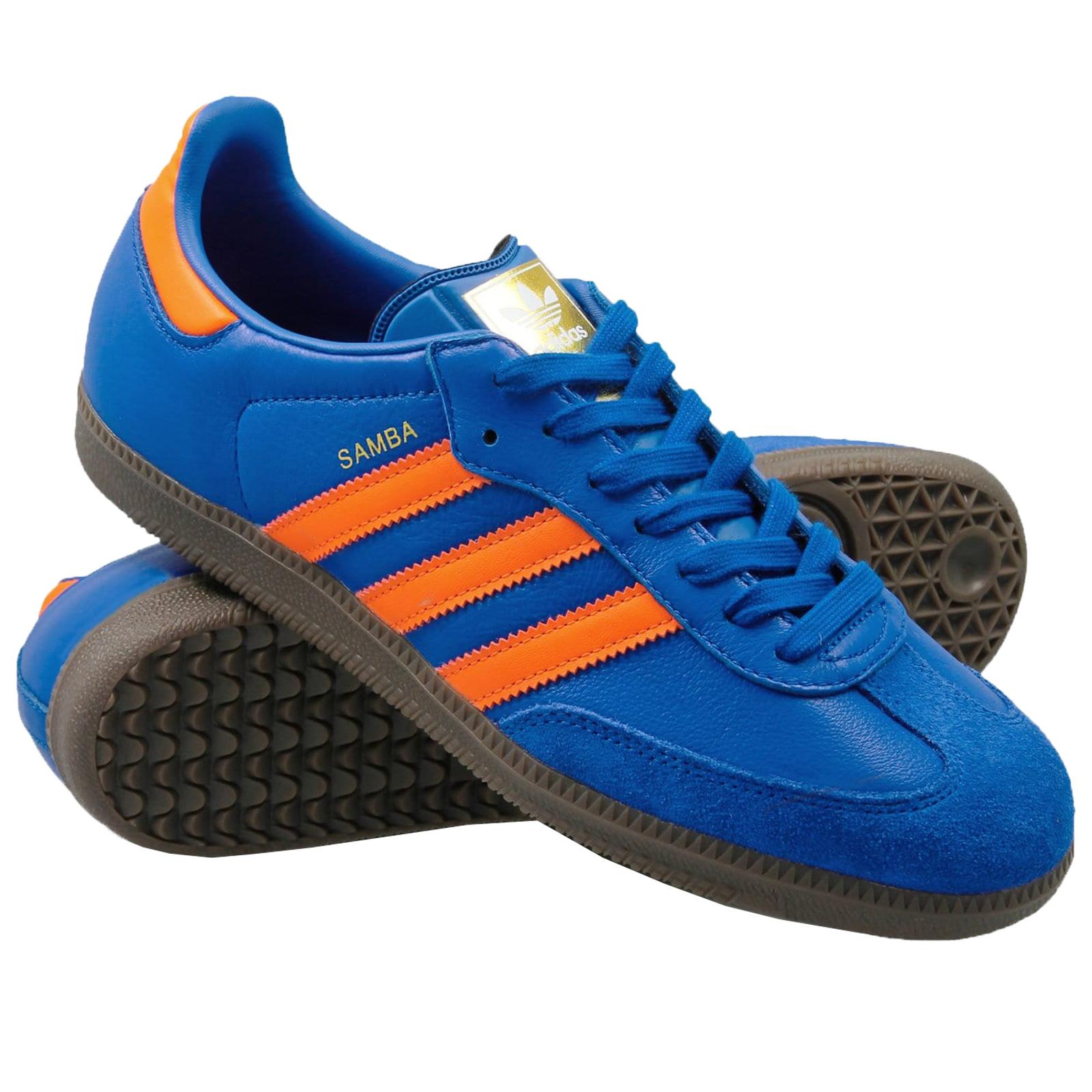 adidas Originals Samba Damen Herren Sneaker CQ2150 Leder Turnschuhe Blau  Orange