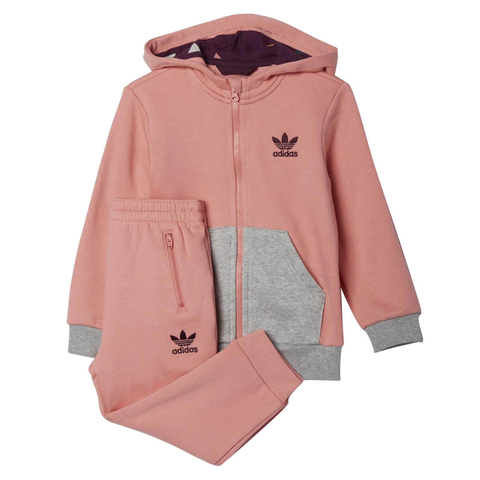 wholesale price outlet on sale look out for adidas Kinder Mädchen Jogger Sweatjacke + Hose kuschelig Rosa Grau Anzug Set