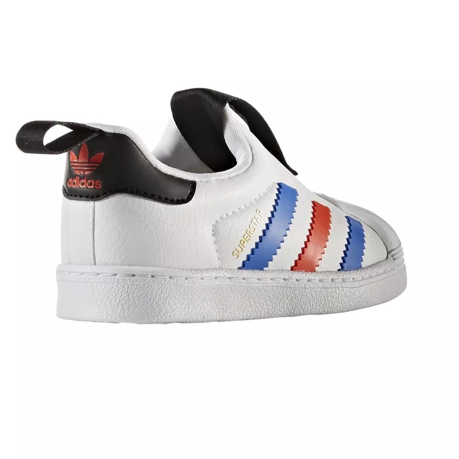 Details about Adidas Originals Superstar 360 Children Sneakers Sneaker Slip on White Red Blue