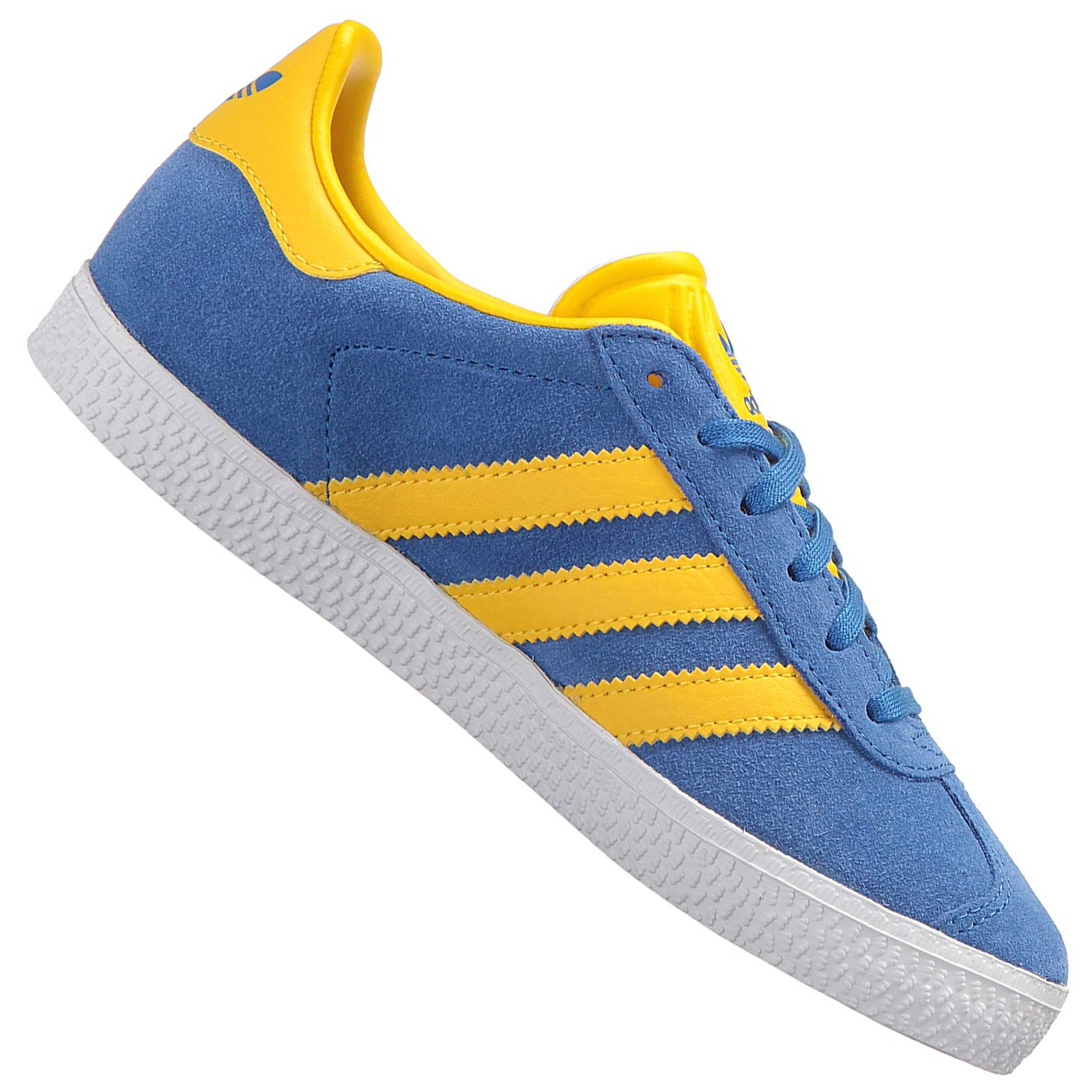 Details about Adidas Originals Gazelle Kids Trainers Leather Shoes Sneakers BY9550 Blue Yellow show original title