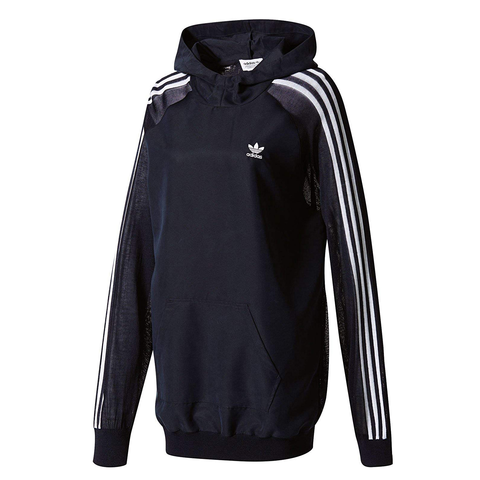 Details zu adidas Originals 3 Stripes Long Hoodie langes Sweatshirt Kapuzenpullover Blau