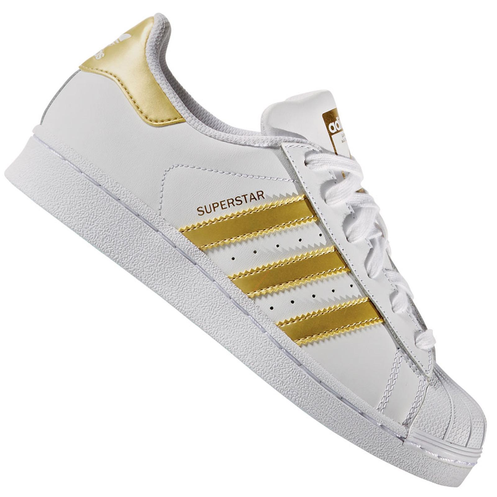 factory authentic 18a6c 90d77 adidas Originals Superstar Damen Vintage Sneaker Turnschuhe BB2870 Weiß Gold