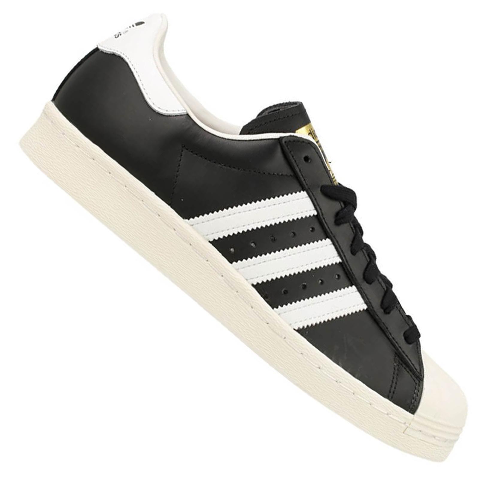 detailed look d2367 aafef adidas Retro Unisex Superstar 80s Sneaker Schuhe Leder Schwarz Weiß Gold  G61069