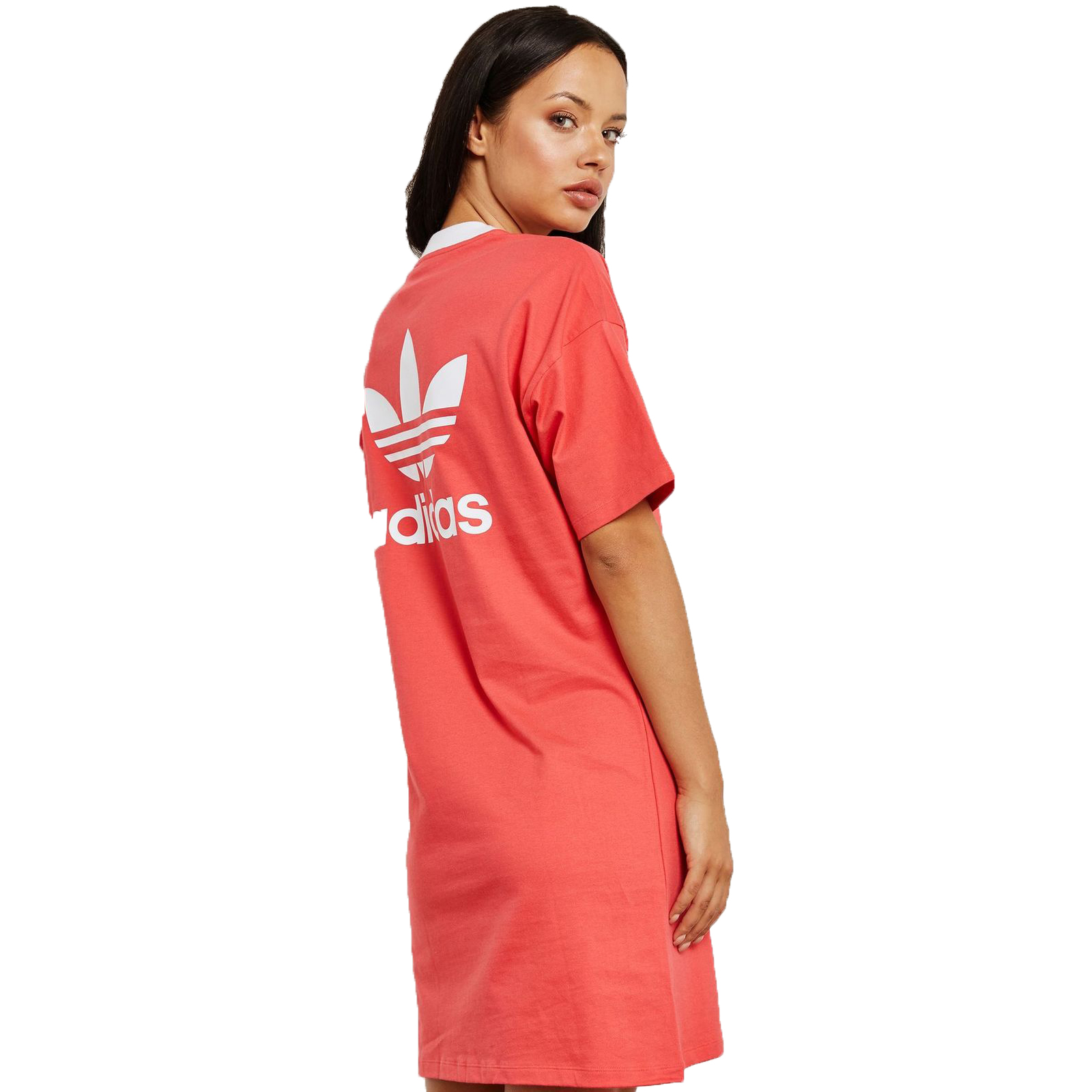 Details about Adidas Originals Trefoil Tee Dress Dress Long Shirt Summer Dress Core Pink Red show original title