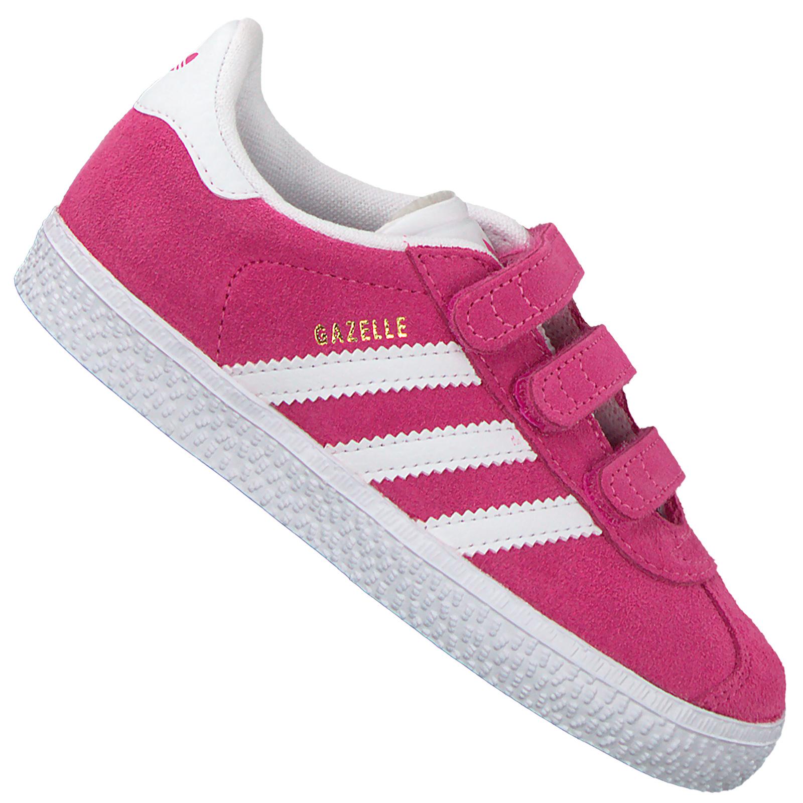 adidas Originals Gazelle Kinder Mädchen Sneaker Leder Schuhe Pink Weiß B41553