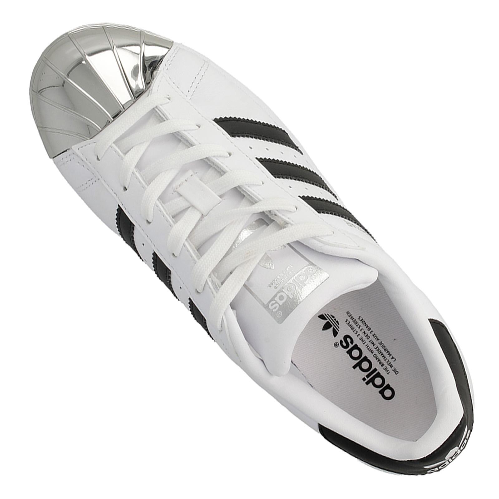 Detalles de Adidas Superstar Metal Toe BB5114 Zapatillas Zapatos Cuero Blanco y Negro Cromo