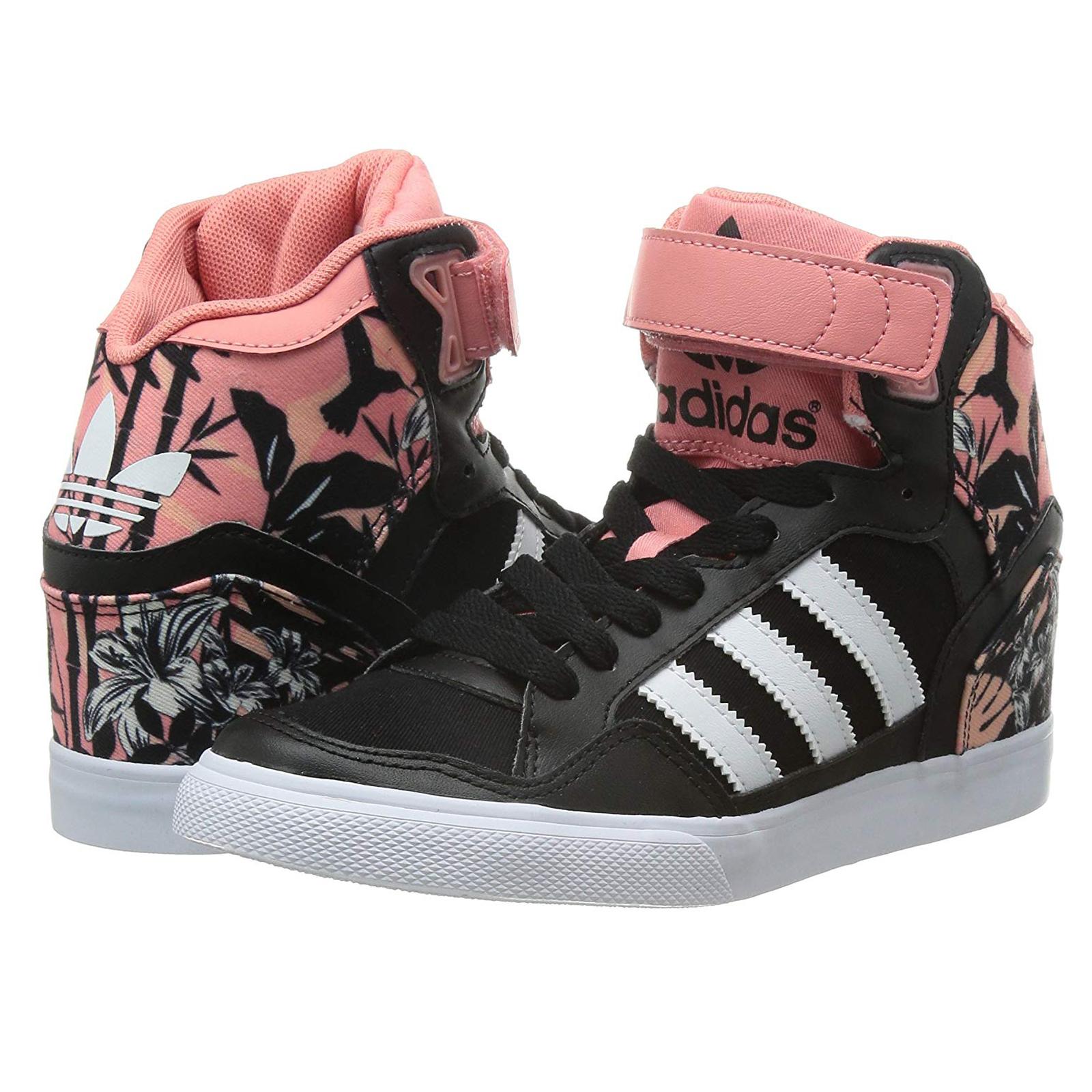 Adidas Originals Extaball up Ladies Sneaker Shoes Wedge Heel Black Rose Blossoms | eBay