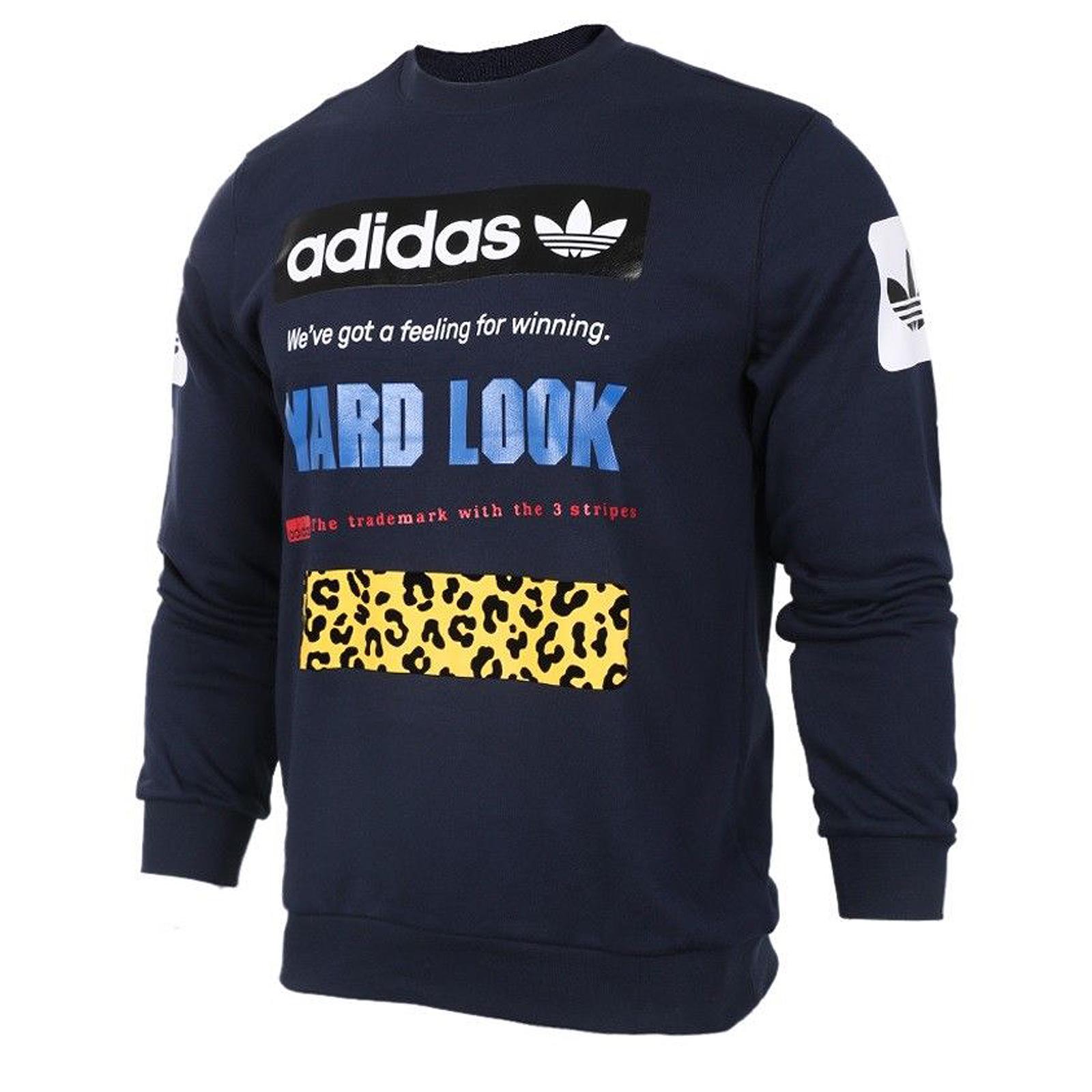 Dettagli su Adidas Originals Strada Grafico Crew Felpa Uomo CF5391 Trefoil Leo Blu