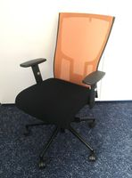 Bürodrehstuhl Drehsessel schwarz oranger Netzrücken