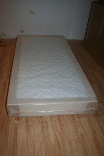Hotelbett Boxspringbett 90x200cm, Bett incl. Matratze, Box: Leinenstruktur – Bild 3