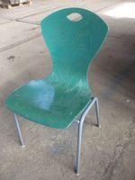Bürostuhl stapelbar 4 Füße, Konferenzstuhl Besucherstuhl Küchenstuhl, Holz, grün – Bild 1