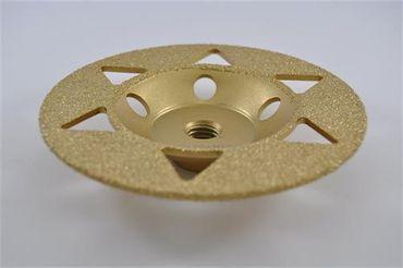 Diamant Schleifteller 125 mm M14 Schleiftopf Granit Marmor Vakuum gelötet – Bild 1