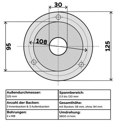 Präzisions 3 Backenfutter Ø 80 / 100 / 125 / 160 / 200 / 250 mm Dreibackenfutter Drehbankfutter Spannfutter – Bild 9
