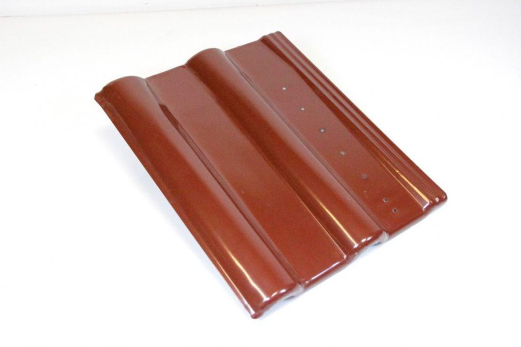 Blechziegel Metall-Dachpfanne Solar PV Frankfurter Pfanne rot RAL 8012