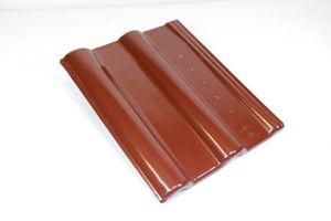 Blechziegel Metall-Dachpfanne Solar PV gelocht - Frankfurter Pfanne rot RAL 8012