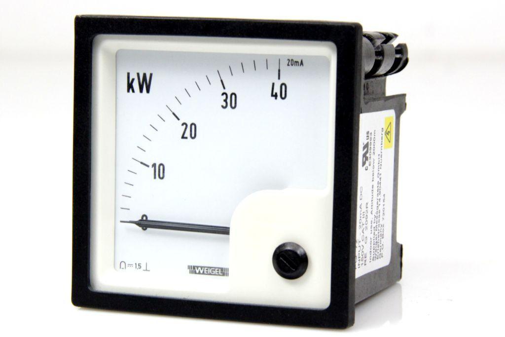 WEIGEL PQ 72 Meßgeräte Messinstrument Analog Meters DC Anzeigegerät 0 40 kW