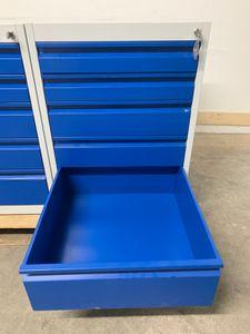 Schubladenschrank H800xB600xT600mm grau/blau 5 Schubladen Einfachauszug – Bild 3