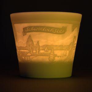 WEIMAR PORZELLAN - Windlicht Teelicht Bisquit-Porzellan - Motiv Schwielochsee – Bild 1