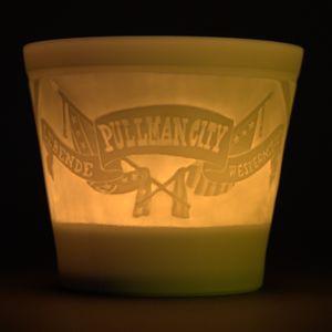 WEIMAR PORZELLAN - Windlicht Teelicht Bisquit-Porzellan - Motiv Pullman City – Bild 1