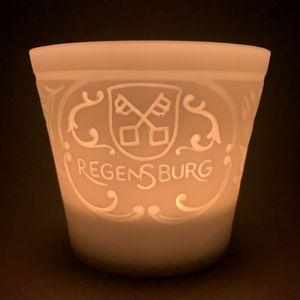 WEIMAR PORZELLAN - Windlicht Teelicht Bisquit-Porzellan - Motiv Regensburg – Bild 1