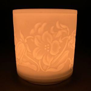 WEIMAR PORZELLAN - Windlicht Teelicht Bisquit-Porzellan - Motiv Blümen Blüten – Bild 1