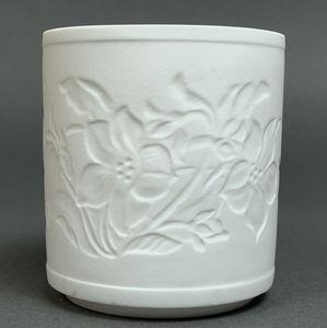 WEIMAR PORZELLAN - Windlicht Teelicht Bisquit-Porzellan - Motiv Blümen Blüten – Bild 4