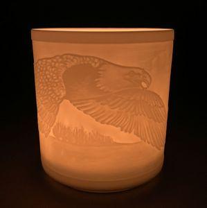 WEIMAR PORZELLAN Windlicht Teelicht Bisquit-Porzellan Lithophanie - Motiv Adler – Bild 1