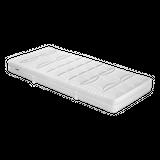 Malie Matratze Holiday  Produktinformationen Gesamthöhe: ca. 21 cm  7-Zonen Kaltschaumkern RG 50 Höhe 18 cm Baumwolltrikot Härtegrad wählbar: H2-H5 aus Doppetuch mit Aloe Vera, 63% Polyester, 37% Baumwolle mit hochwertiger Klimafaser (100% Polyester) beidseitig unterlegt mit Polypropylenvlies für mehr Stabilität Rundumreißverschluß, teilbar und abnehmbar waschbar bei 60°C