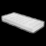 Malie Matratze Big Star   Produktinformationen punktelastischer 5-Zonen Tonnentaschenfederkern mit 448 einzeln in Taschen eingenähten Federn (Basis 100x200 cm) Comfortflex-Schaum extra belastbarer Kaltschaum Baumwolltrikot in vier Härtegraden erhältlich: H2-H5 aus strapazierfähigem Doppeltuch 39% Polyamid, 37% Baumwolle, 24% Polyester beidseitig mit daunenartiger Klimafaser (100% Polyester) versteppt und unterlegt mit Polypropylenvlies Rundumreißverschluss Bezug teilbar und abnehmbar waschbar bis 60°C ausgeprägte Punktelastizität besonders starke Stützung der Wirbelsäule hervorragende Ventilation und guter Feuchtigkeitstransport nur Lattenroste mit engen Leistenabständen verwenden (3-4 cm) Gesamthöhe: ca. 23 cm