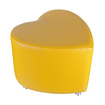 Sitzhocker - Sitzwürfel Herzform Gelb mit Aluminium Gleiter – Bild 1