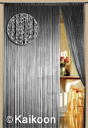 Fadenvorhang 150 cm x 300 cm silber glänzend (BxH) – Bild 2