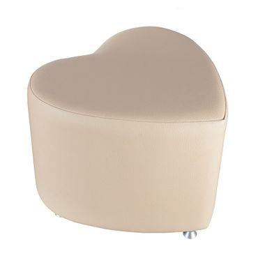 Sitzhocker - Sitzwürfel Herzform Creme mit Aluminium Gleiter – Bild 1