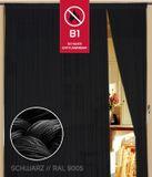 Fadenvorhang 100 cm x 300 cm schwarz  in B1 schwer entflammbar 001