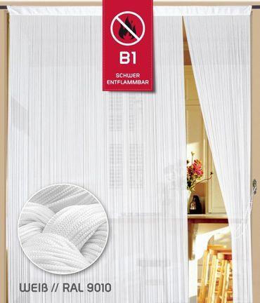 Fadenvorhang 200 cm x 500 cm weiß in B1 schwer entflammbar – Bild 1