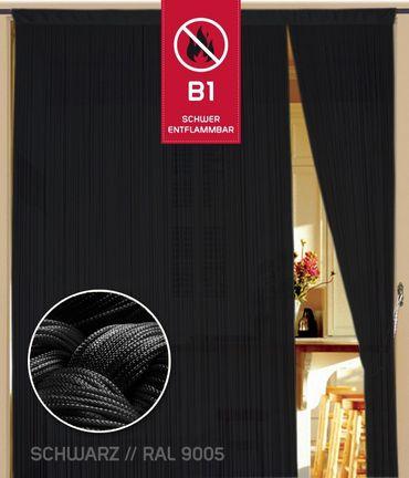 Fadenvorhang 90 cm x 240 cm schwarz in B1 schwer entflammbar – Bild 1