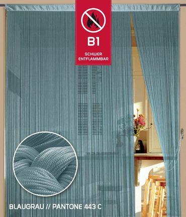 Fadenvorhang 150 cm x 300 cm blaugrau in B1 schwer entflammbar – Bild 1