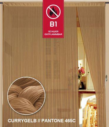 Fadenvorhang 150 cm x 300 cm currygelb gold in B1 schwer entflammbar – Bild 1
